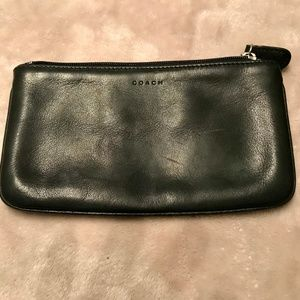 90's Coach Zip Pouch Black Thick Leather Zipper